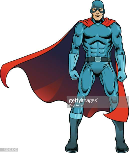 masked superhero in cape - cape garment stock illustrations