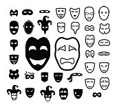 Masks and conspiracy icon set