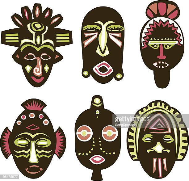 masks - painting art product stock illustrations