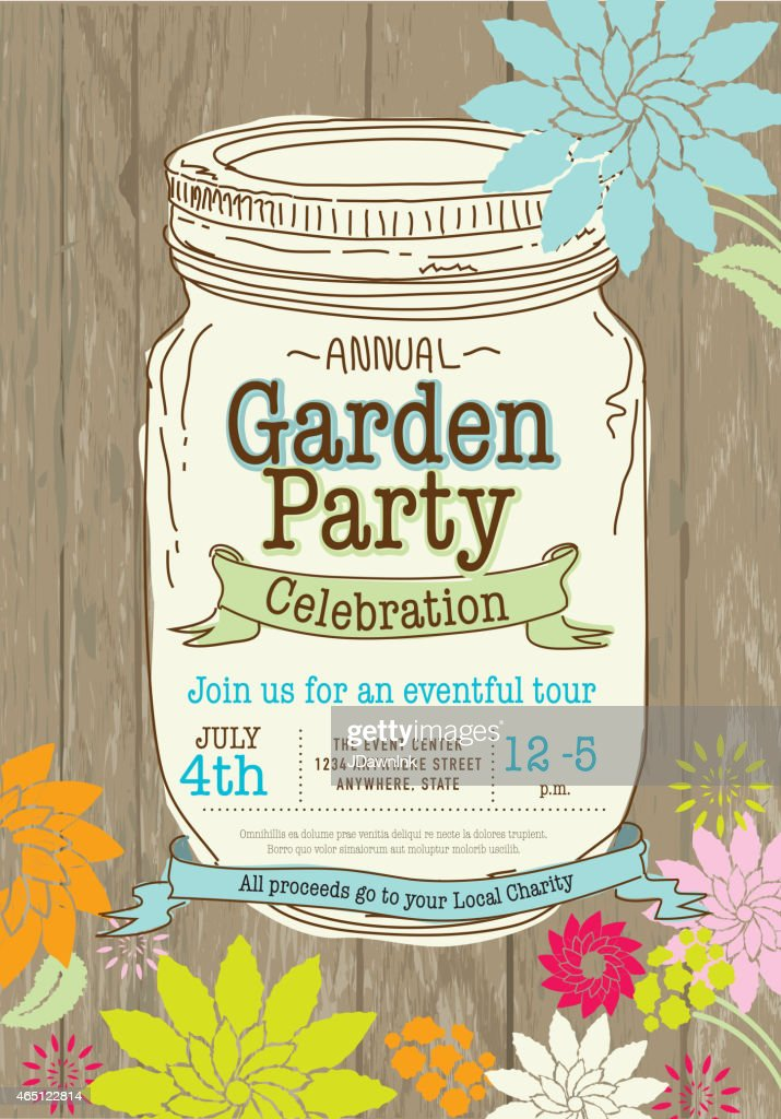 Mason Canning Jar Spring Garden Party Invitation Design Template ...