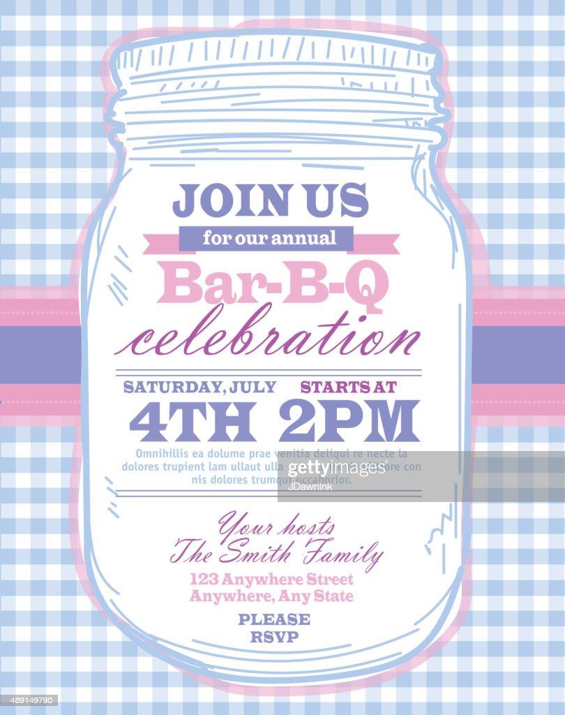 mason jar bbq with blue tablecloth picnic invitation design template