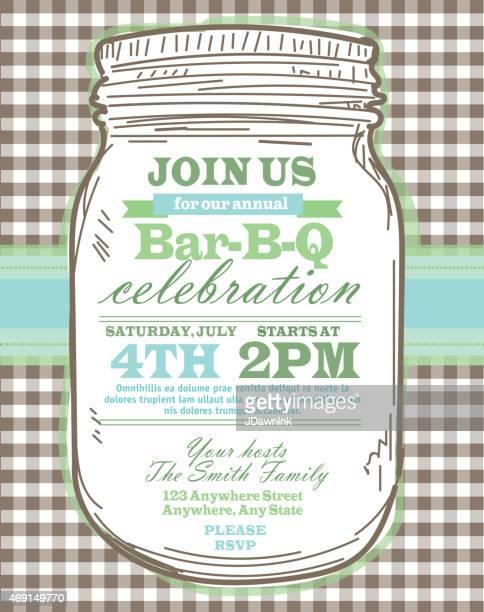 mason jar bbq with brown tablecloth picnic invitation design template - jar stock illustrations