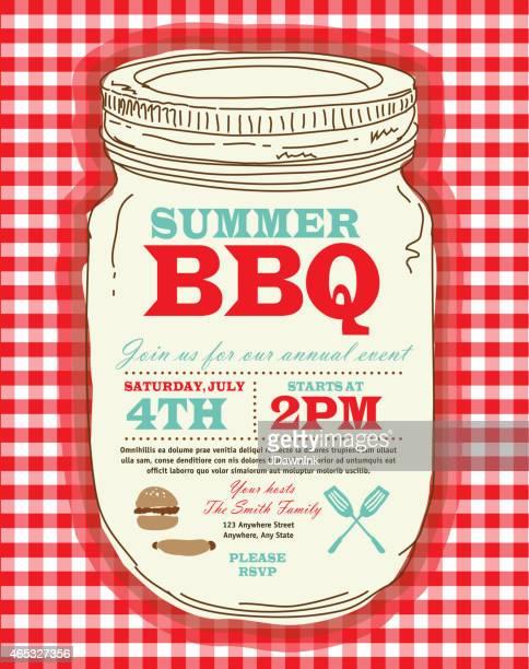 mason jar bbq with checkered tablecloth picnic invitation design template - tablecloth stock illustrations, clip art, cartoons, & icons