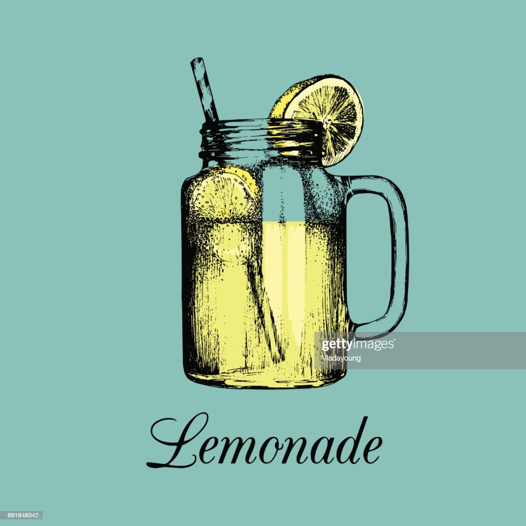 Mason jar isolated. Vector home made lemonade with straw and slice of lemon color illustration. Sketch of soft drink.
