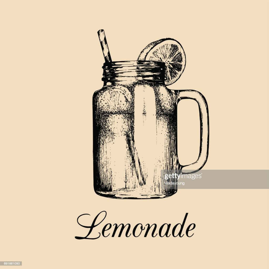 Mason jar isolated.Vector home made lemonade with straw and slice of lemon illustration.Hand drawn sketch of soft drink.