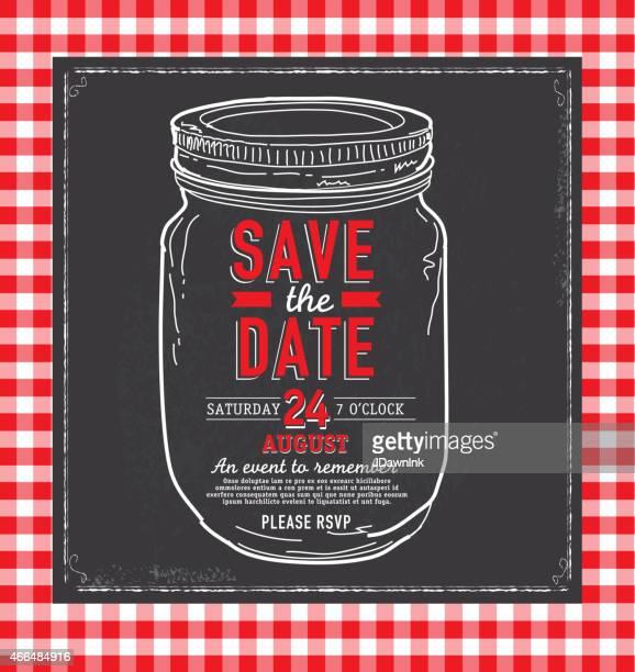 mason jar save the date chalkboard invitation design template - tablecloth stock illustrations, clip art, cartoons, & icons