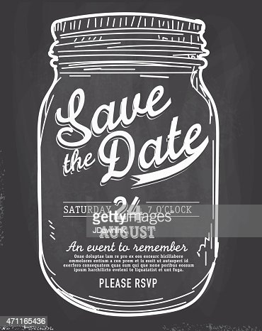 Mason Jar Save The Date Chalkboard Invitation Design ...