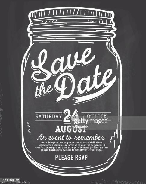 Mason Jar Save the date chalkboard invitation design template