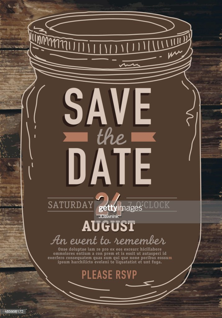 mason jar save the date invitation design template poster. Black Bedroom Furniture Sets. Home Design Ideas