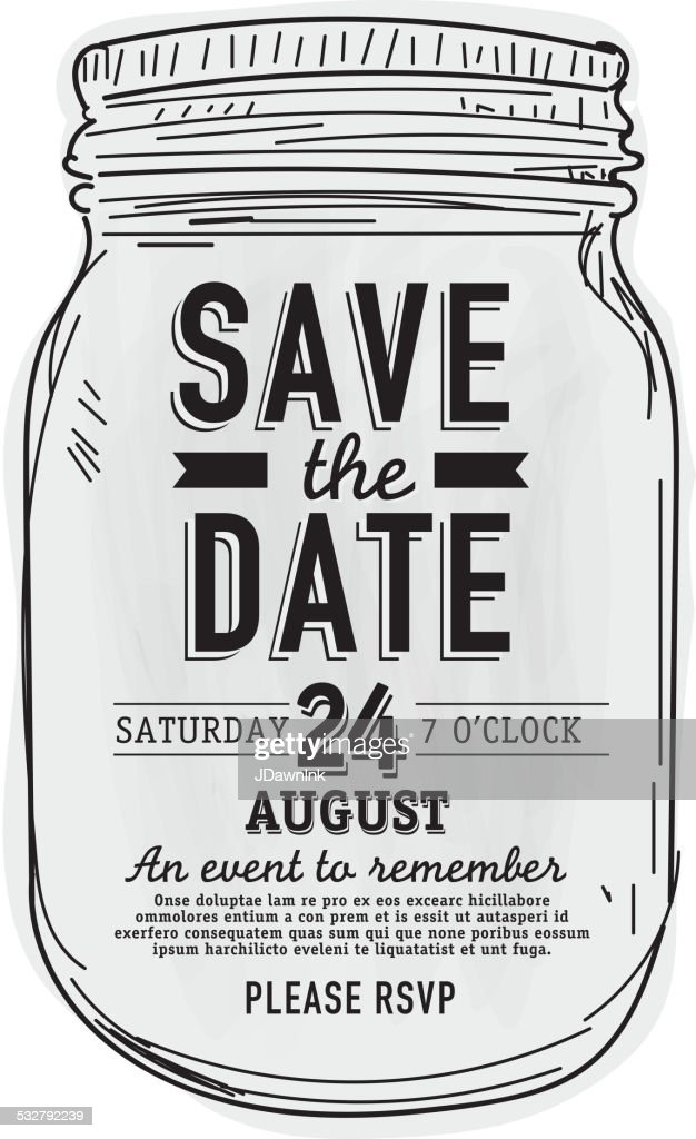 Mason Jar Save the date invitation design template