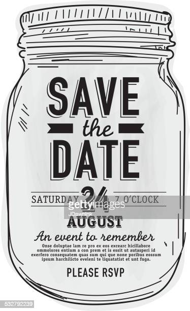 mason jar save the date invitation design template - rustic stock illustrations