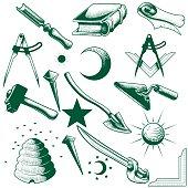 masonic symbol vector set