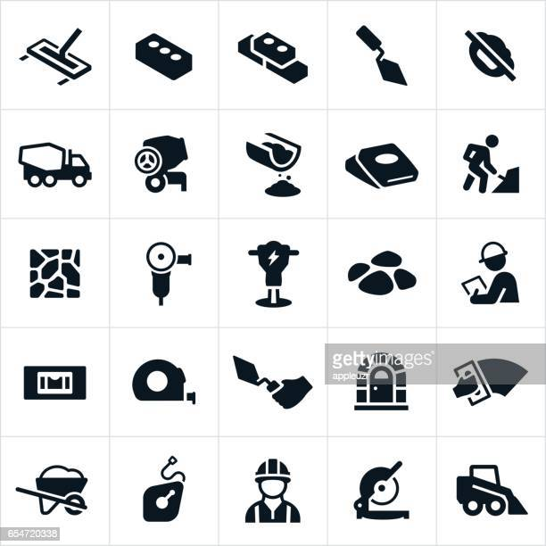 masonry and concrete icons - gardening equipment stock illustrations