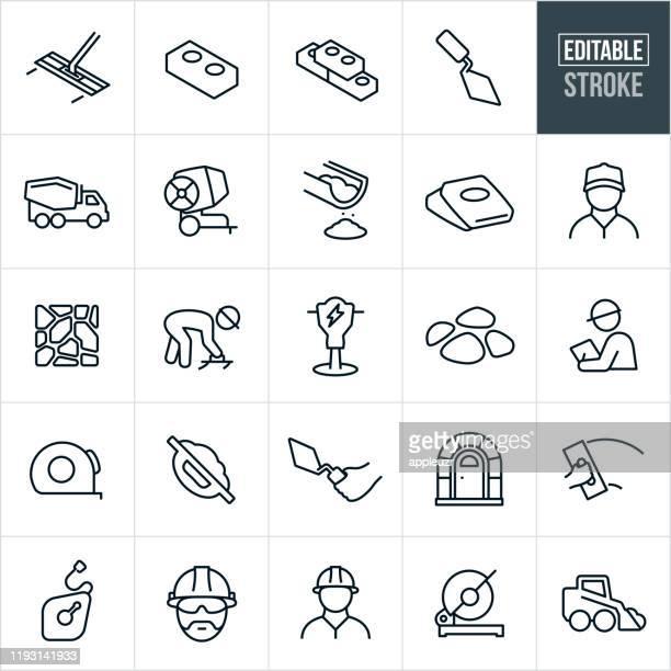 stockillustraties, clipart, cartoons en iconen met metselwerk dunne lijn icons-bewerkbare lijn - steen rots