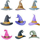 Masquerade artoon witch hat halloween children costume kid party icons set vector illustration