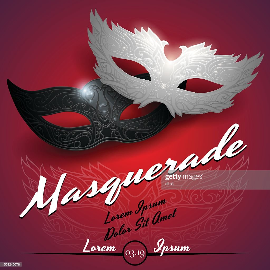 Masquerade ball party invitation poster