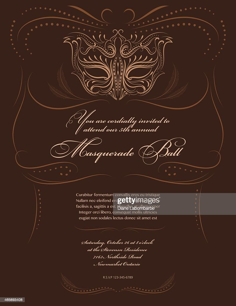 Masquerade Mask Design Party Invitation Vector Art   Getty Images