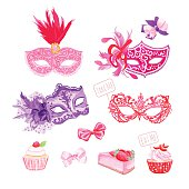 Masquerade masks,bows, fresh pastries vector design objects set
