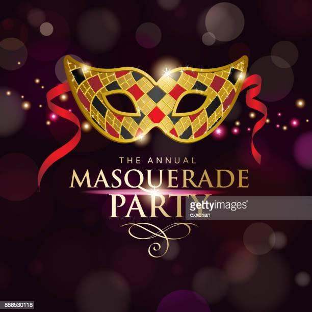 illustrazioni stock, clip art, cartoni animati e icone di tendenza di masquerade party invitations - maschere carnevale