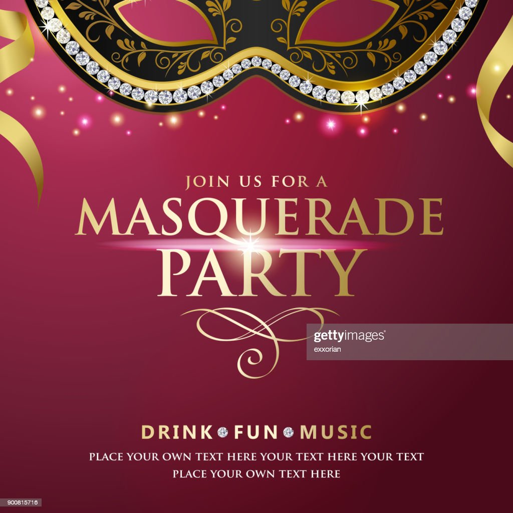 Masquerade Party Invitations Vector Art