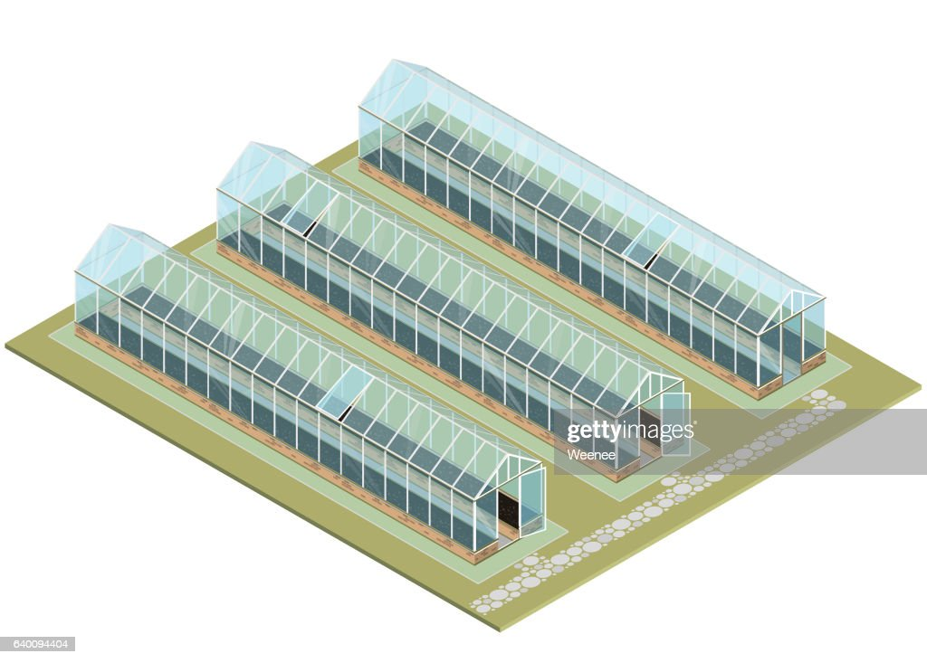 Mass farm. Isometric greenhouse with glass walls, foundations, gable roof.