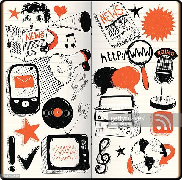 mass media doodles - music symbols stock illustrations, clip art, cartoons, & icons
