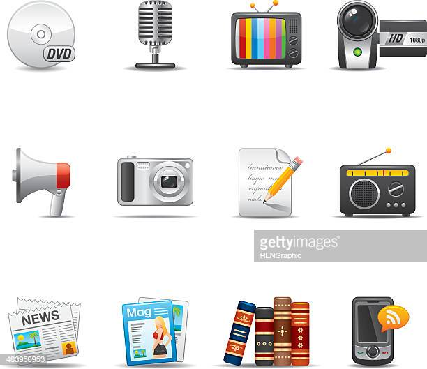 mass media icon set | elegant series - dvd stock illustrations