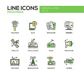 Mass Media line design icons set