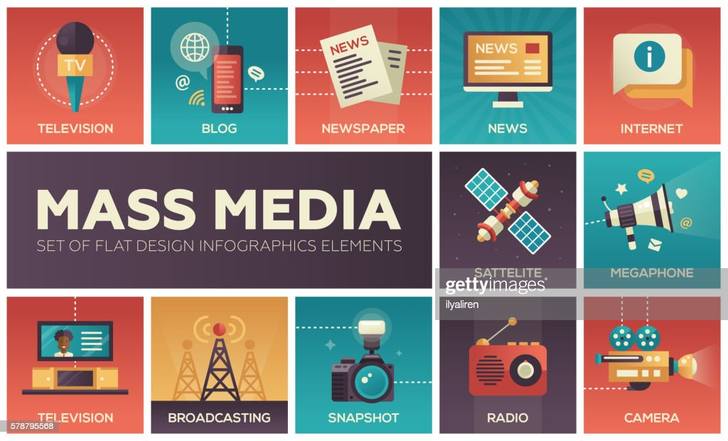 Mass Media line design icons set