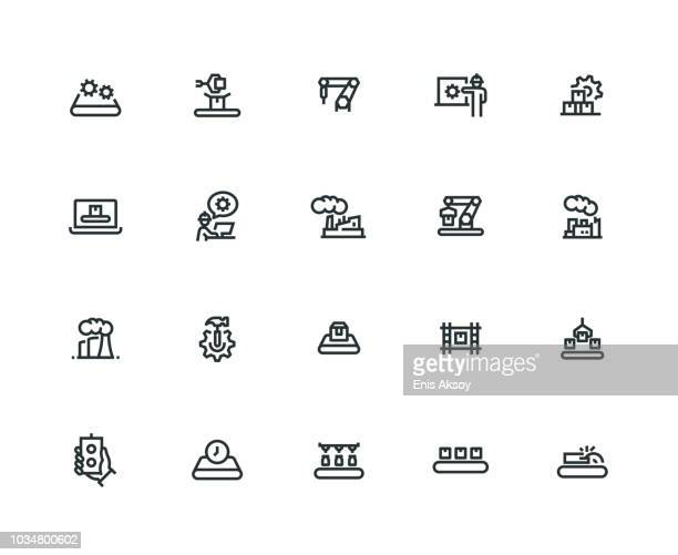 mass production icon set - thick line series - thick stock illustrations
