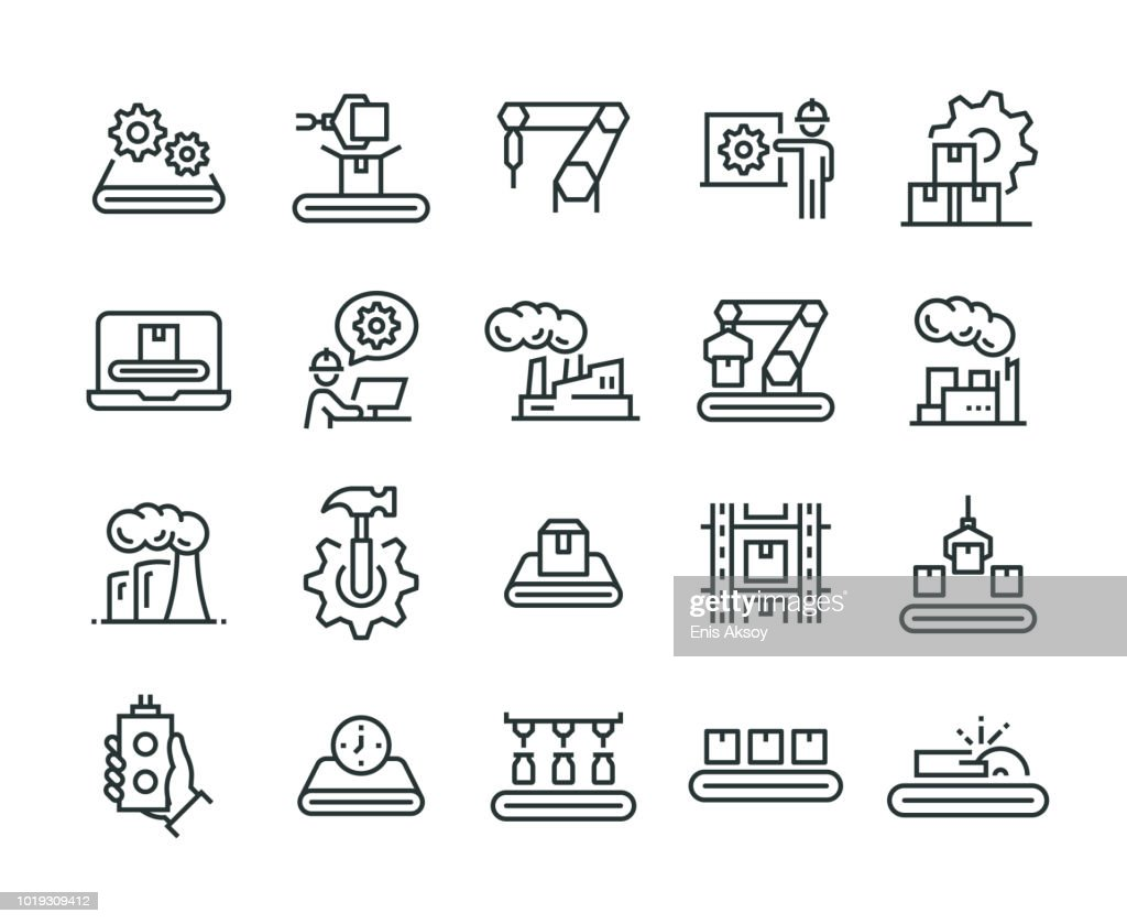 Massenproduktion-Icon-Set : Stock-Illustration