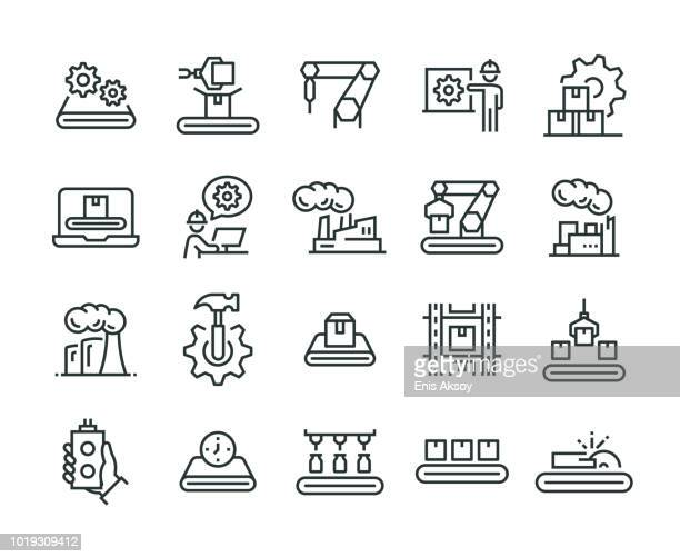 mass production icon set - industry stock illustrations