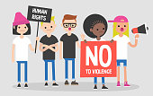 Mass protest, flat editable vector illustration. Multicultural group of young adults claiming their demands. Flat editable vector illustration, clip art
