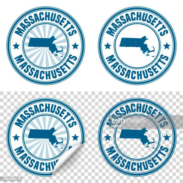 massachusetts - blue sticker and stamp with name and map - massachusetts stock illustrations