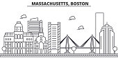 Massachusetts, Boston architecture line skyline illustration. Linear vector cityscape with famous landmarks, city sights, design icons. Landscape wtih editable strokes