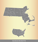 Massachusetts county and USA map vector outline illustration in a creative grunge texture background