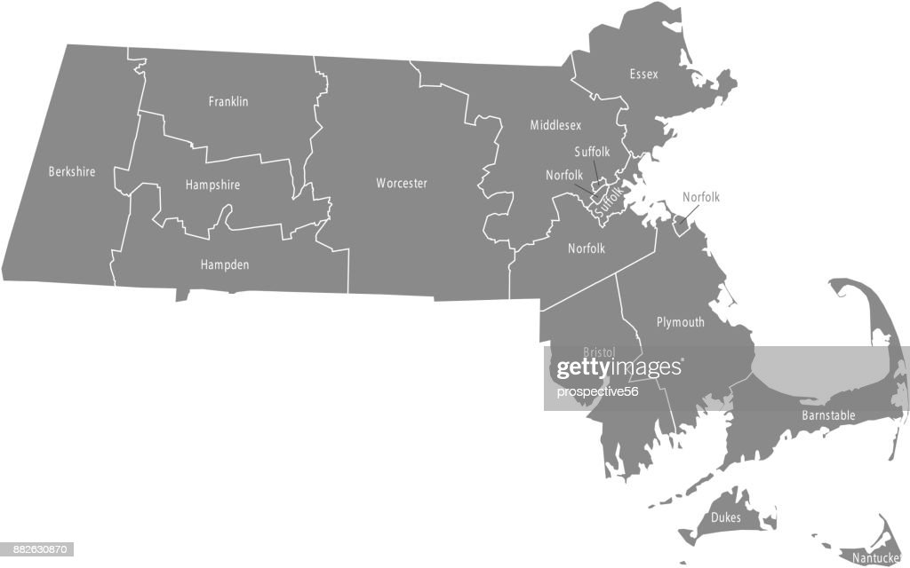 Massachusetts county map vector outline illustration in gray background