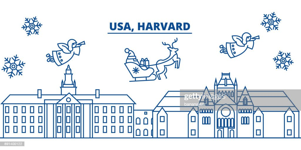 USA, Massachusetts, Harvard winter city skyline. Merry Christmas and Happy New Year decorated banner. Winter greeting card with snow and Santa Claus. Flat, line vector. Linear christmas illustration