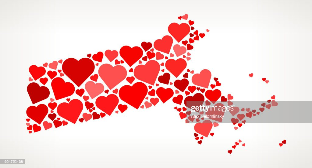 Massachusetts Icon with Red Hearts Love Pattern