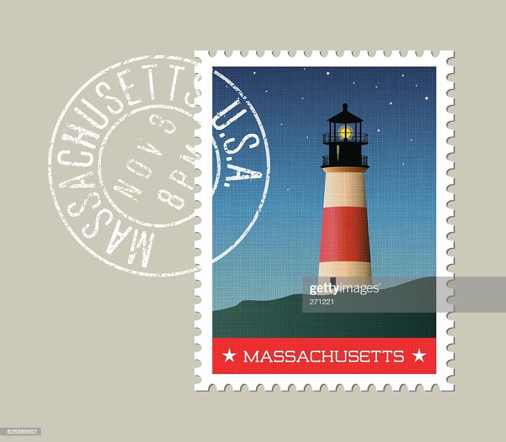 Massachusetts lighthouse at night vector illustration