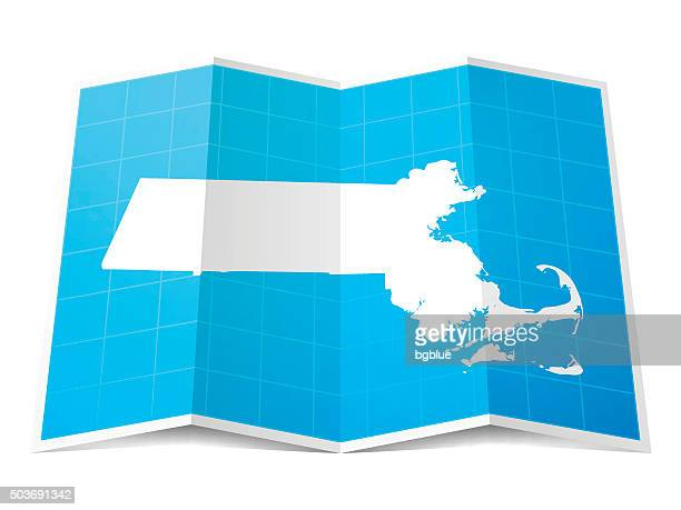 Massachusetts Map folded, isolated on white Background