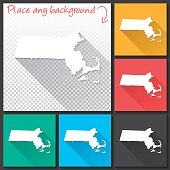 Massachusetts Map for design, Long Shadow, Flat Design