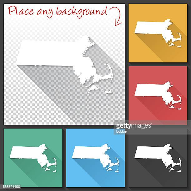 Massachusetts Map for design, Long Shadow, Flat Design