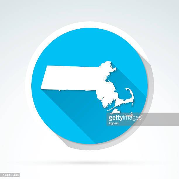 Massachusetts map icon, Flat Design, Long Shadow