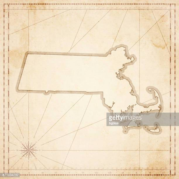 Massachusetts map in retro vintage style - old textured paper