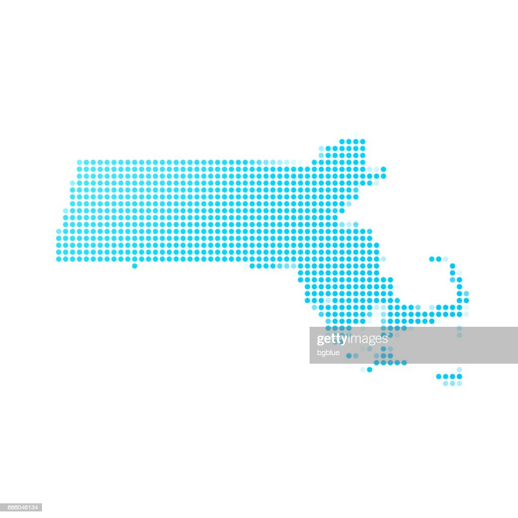 Massachusetts map of blue dots on white background