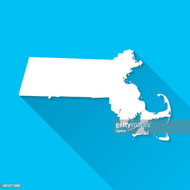Massachusetts Map on Blue Background, Long Shadow, Flat Design