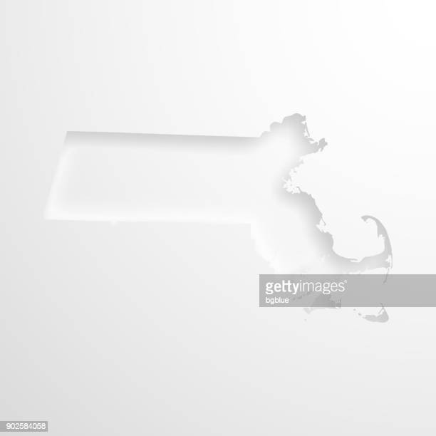 Massachusetts map with embossed paper effect on blank background