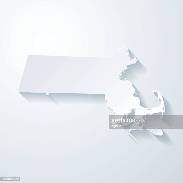 Massachusetts map with paper cut effect on blank background