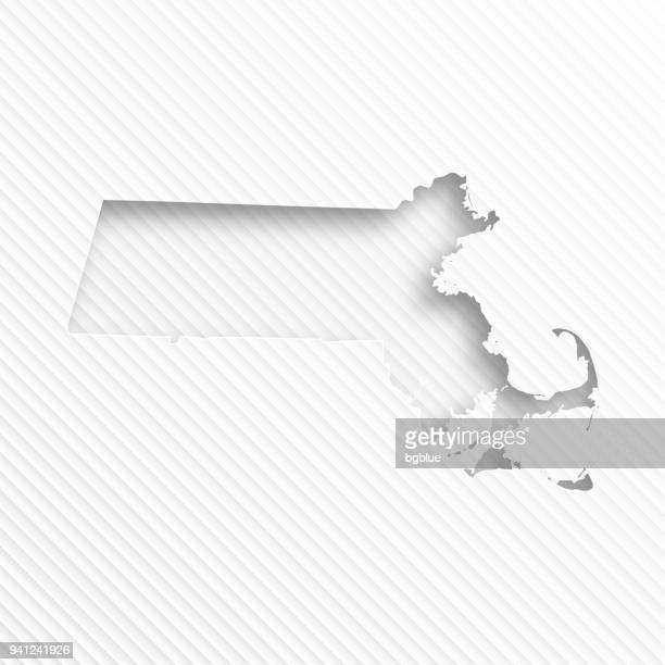 Massachusetts map with paper cut on abstract white background